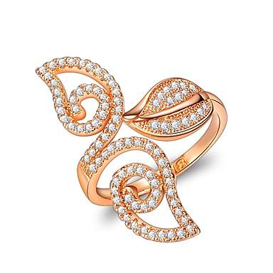 billige Motering-Dame Håndledd Ring Kubisk Zirkonium Rose Gull Rose gull Zirkonium Geometrisk Form Klassisk Bryllup Aftenselskap Smykker Blomst Sløyfer