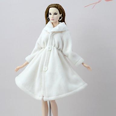Κούκλα στολή Κούκλα Παλτά Για Barbie Λευκό Φανέλα Φλις Πολυεστέρας Επίστρωση Για Κορίτσια κούκλα παιχνιδιών