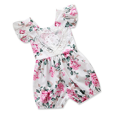 cheap Baby Girls' One-Piece-Baby Girls' Casual Daily / Going out Floral / Print Lace / Stylish / Slim Short Sleeves Romper White / Cute