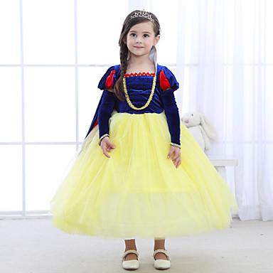 Παιδιά Κοριτσίστικα Βίντατζ Ενεργό Πάρτι Εξόδου Patchwork Μακρυμάνικο Φόρεμα Κίτρινο / Βαμβάκι
