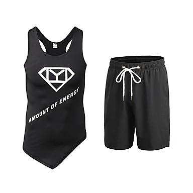 Ανδρικά Activewear Σετ Fitness ΑΘΛΗΤΙΚΑ ΡΟΥΧΑ Ικανότητα να αναπνέει Κολάν Ρούχα σύνολα Αμάνικο Σύντομη Pant Ρούχα Γυμναστικής Ελαστικό