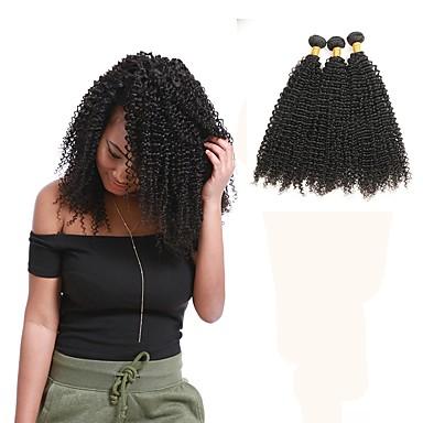 povoljno Ekstenzije od ljudske kose-3 paketa Malezijska kosa Kinky Curly Remy kosa Ljudske kose plete Isprepliće ljudske kose Proširenja ljudske kose / 10A