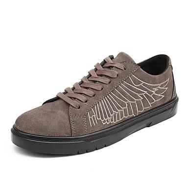 Hombre Zapatos Cuero Nobuck Otoño / Invierno Confort Zapatillas de deporte Negro / Gris / Caqui 90RQSAd4i