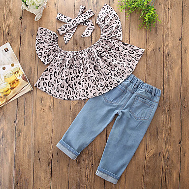 cheap Baby & Kids-Toddler Girls' Casual Daily Going out Print Leopard Hole Leopard Print Printing Sleeveless Regular Regular Clothing Set Gray / Cute