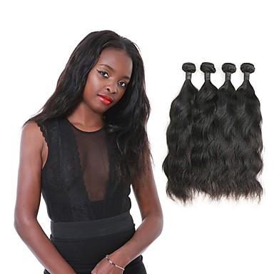 povoljno Ekstenzije od ljudske kose-4 paketića Brazilska kosa Prirodne kovrče Remy kosa Ljudske kose plete 12-30 inch Isprepliće ljudske kose Proširenja ljudske kose / 10A