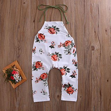 cheap Baby Girls' Bottoms-Baby Girls' Boho / Street chic Holiday / Going out Floral Backless / Artistic Style / Floral Sleeveless Overall & Jumpsuit Beige / Toddler