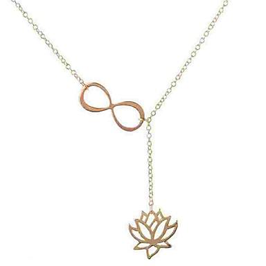 povoljno Modne ogrlice-Žene Ogrlice s privjeskom Y Ogrlica Duga ogrlica Laso Cvijet Lotus beskraj dame Jednostavan Moda Legura Zlato Pink Ogrlice Jewelry Za Dnevno