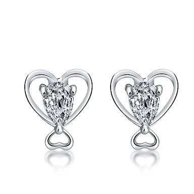 Γυναικεία Διαμάντι Cubic Zirconia Κουμπωτά Σκουλαρίκια Καρδιά κυρίες Κλασσικό Μοντέρνα Ζιρκονίτης Σκουλαρίκια Κοσμήματα Χρυσό / Ασημί Για Καθημερινά Αργίες