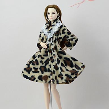 niño descuento especial Calidad superior [$7.99] Traje de muñeca Abrigo de muñeca Abrigos por Barbie Leopardo Café  Franela Vellón Poliéster Chaqueta por Chica de muñeca de juguete