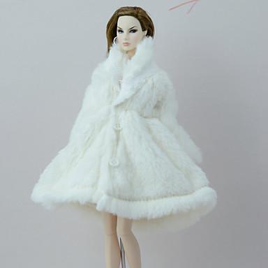 calidad de marca el precio más baratas unos dias [$9.99] Traje de muñeca Abrigo de muñeca Abrigos por Barbie Blanco Franela  Vellón Poliéster Chaqueta por Chica de muñeca de juguete
