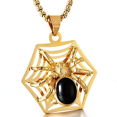 cheap Pendant Necklaces-Men's Synthetic Ruby Pendant Necklace Spiders Fashion Titanium Steel Titanium Steel Gold Silver Necklace Jewelry For Daily Street