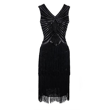 The Great Gatsby Τσάρλεστον Ανάγλυφο 1920s Χρυσή δεκαετία του '20 Φανελάκι φόρεμα Φορέματα Γυναικεία Πούλιες Στολές Μαύρο / Κόκκινο Πεπαλαιωμένο Cosplay Πάρτι Χοροεσπερίδα Αμάνικο Κοντό Μήκος