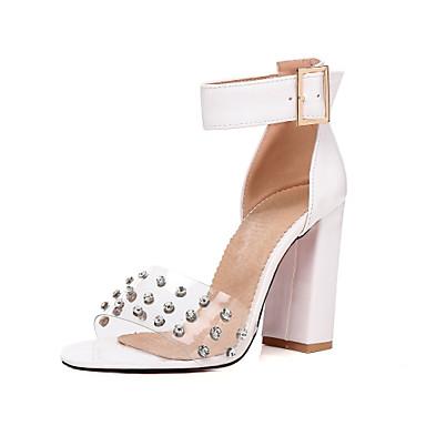 Mujer Zapatos Cuero de Napa Verano Confort / Pump Básico Sandalias Tacón Cuadrado Blanco / Negro / Rojo UnKGGZnu9