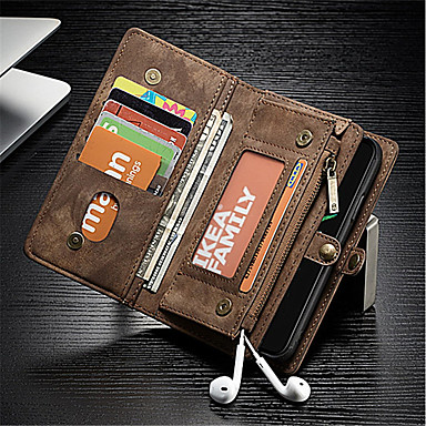 tok Για Apple iPhone X Πορτοφόλι / Θήκη καρτών / Ανθεκτική σε πτώσεις Πλήρης Θήκη Μονόχρωμο Σκληρή γνήσιο δέρμα