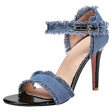 Mujer Zapatos Vaquero Verano Talón Descubierto Sandalias Media plataforma Puntera abierta Negro / Azul Oscuro / Azul Claro EVcZF