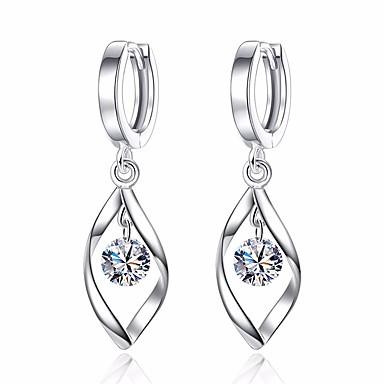 Mulheres Diamante Zircônia Cubica Brincos Compridos Formato de Folha senhoras Básico Fashion Brincos Jóias Prata Para Diário Cerimônia