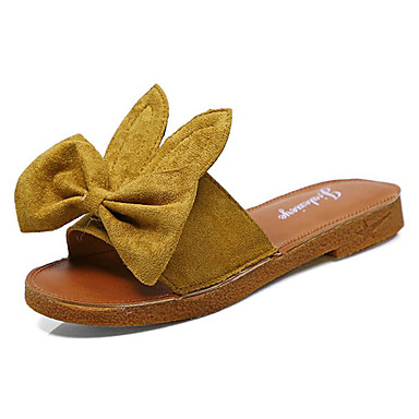 Mujer Zapatos PU Verano Confort Zapatillas y flip-flops Media plataforma Dedo redondo Negro / Beige kxZ53Ifg