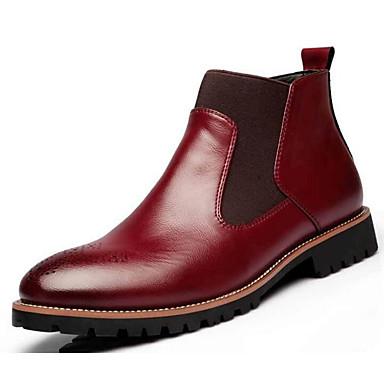 ราคาถูก Clearance-สำหรับผู้ชาย รองเท้าสบาย ๆ PU ตก / ฤดูหนาว บูท สีดำ / ไวน์ / สีน้ำตาลอ่อน / รองเท้าคอมแบท