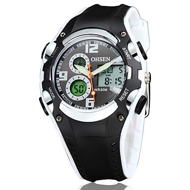 levne Pánské-OHSEN Pánské Sportovní hodinky Digitální Pryž Černá 30 m Voděodolné Odolný vůči nárazu Cool Analogové Žlutá Červená Modrá
