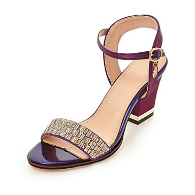 971f850c58fe Women s Shoes Silk Summer Ankle Strap Sandals Chunky Heel Open Toe Crystal  Beige   Purple   Red   Party   Evening   Block Heel Sandals 6600395 2019 –   44.99