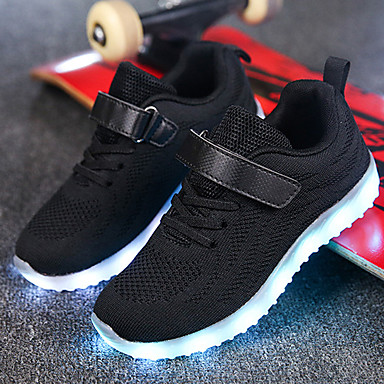 4199 Boys Girls Comfort Led Shoes Knit Net Athletic Shoes Little Kids4 7ys Big Kids7years Walking Shoes Lace Up Hook Loop