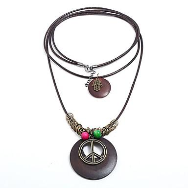 levne Pánské šperky-Pánské Dámské vrstvené Náhrdelníky Mír Znak míru Prohlášení Cikánské Gothic Afričan Dřevěný Kabel Slitina Hnědá Náhrdelníky Šperky 1 Pro Narozeniny Škola