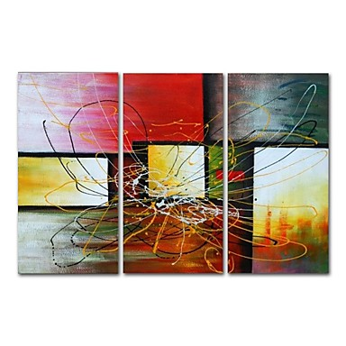cheap Wall Art-Oil Painting Hand Painted - Abstract Comtemporary Modern Stretched Canvas / Three Panels