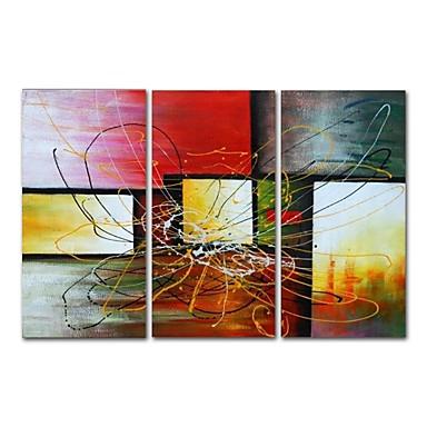 Hang malte oljemaleri Håndmalte - Abstrakt Moderne Inkluder indre ramme / Tre Paneler / Stretched Canvas