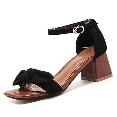 Mujer Zapatos PU Verano Confort Sandalias Tacón Cuadrado Dedo redondo Pajarita Blanco / Negro JOgt3