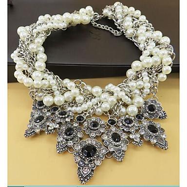 Krave Uttalelse Halskjeder Blomst Søt Oversized Imitert Perle Legering Svart 45 cm Halskjeder Smykker Til Bryllup Aftenselskap