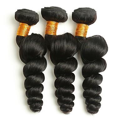 3 pakker Brasiliansk hår Bølget Ekte hår Hairextensions med menneskehår Naturlig Farge Hårvever med menneskehår Ekstensjon Hot Salg Hairextensions med menneskehår / 8A
