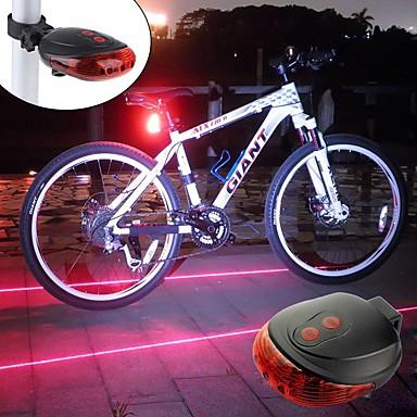 Laser Sykkellykter Baklys til sykkel sikkerhet lys LED Fjellsykling Sykkel Sykling Vanntett Bærbar Alarm Advarsel Oppladbart Batteri 300 lm Batterier drevet Rød Blå Sykling