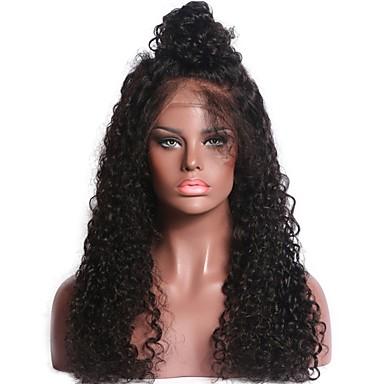 Ekte hår Ubehandlet Menneskehår Helblonde Parykk Midtdel Deep Parting Side del stil Brasiliansk hår Krøllet Naturlig Parykk 130% Hair Tetthet med baby hår Naturlig hårlinje Til fargede kvinner 100