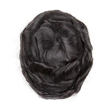 Herre Ekte hår Tupéer 100 % håndknyttet