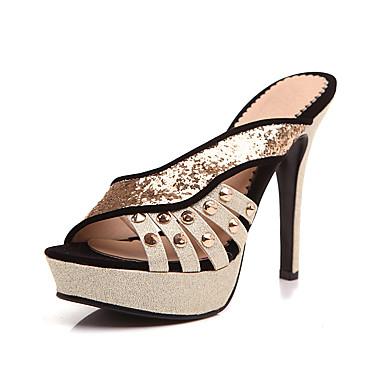 Mujer Zapatos Ante Primavera verano Pump Básico Tacones Tacón Stiletto Punta abierta Negro / Azul / Boda / Fiesta y Noche QT3f8r