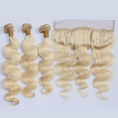 povoljno Ekstenzije od ljudske kose-3 paketi s zatvaranjem Brazilska kosa Wavy Remy kosa Ekstenzije od ljudske kose Kosa potke zatvaranje Plavuša Isprepliće ljudske kose Novi Dolazak Prirodna linija za kosu Proširenja ljudske kose
