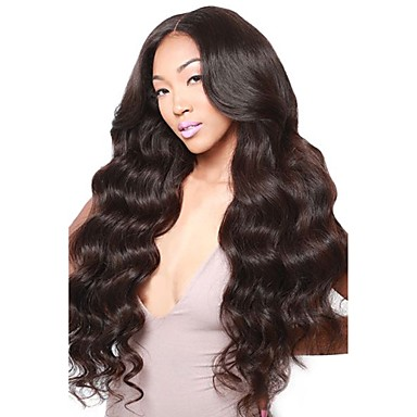 5665620f93 Virgin Human Hair 360 Frontal Wig Middle Part Deep Parting style Brazilian  Hair Wavy Body Wave Black Wig 180% Density with Baby Hair Natural Hairline  ...