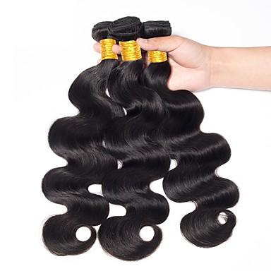 3 pakker Indisk hår Krop Bølge Ekte hår Svart Naturlig Farge Hårvever med menneskehår Dame Ny ankomst farging Hairextensions med menneskehår / 8A