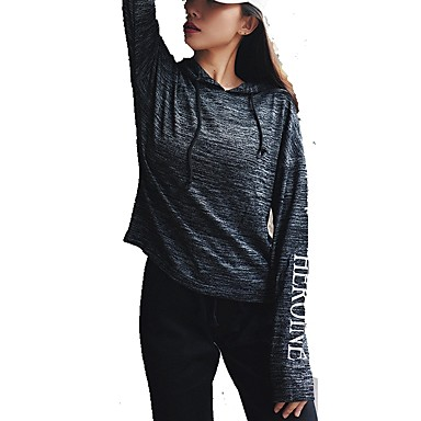 Women's Running Shirt Long Sleeve Pullover Yoga Workout Fitness Gym Workout Exercise Windproof Quick Dry Sportswear Stripes Hoodie Activewear Stretchy