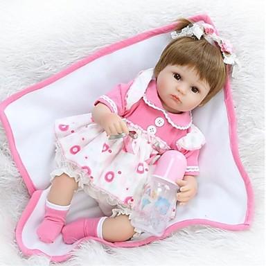 NPKCOLLECTION NPK DOLL Reborn-dukker Girl Doll Babyjenter 18 tommers Silikon - Newborn liv som Nuttet Økovennlig Håndlaget Barnesikker Barne Unisex / Jente Leketøy Gave / Foreldre-barninteraksjon