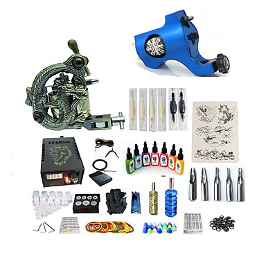 BaseKey Tattoo Machine Startkit - 2 pcs tattoo maskiner med 7 x 15 ml tatovering blekk, Variabel hastighet, Profesjonell, Justerbar Legering LCD strømforsyning No case 20 W 1 x roterende