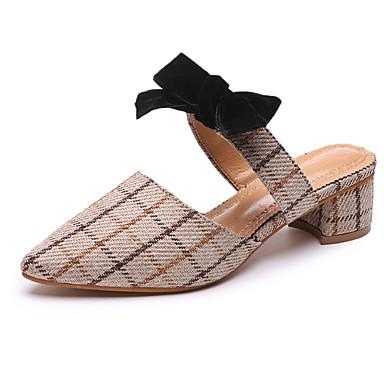 Mujer Zapatos Lino Verano Confort Zuecos y pantuflas Tacón Cuadrado Dedo redondo Negro / Almendra 3T3kQRSbK