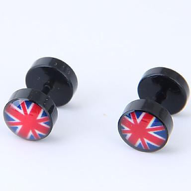 levne Dámské šperky-Dámské Peckové náušnice Union Jack dámy Evropský Módní Titanová ocel Náušnice Šperky Černá Pro Ležérní Denní