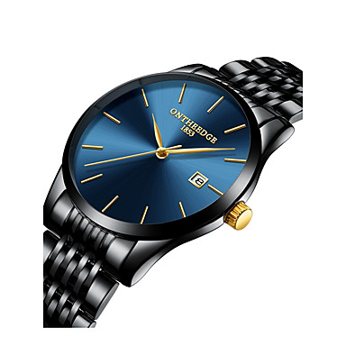 cheap Jewelry & Watches-Men's Dress Watch Japanese Oversized Black / Silver / Gold 30 m Water Resistant / Waterproof Chronograph Large Dial Analog Luxury Classic Minimalist Simple watch - Blue / Black Golden Gold / White