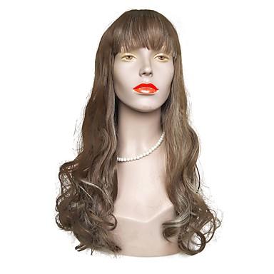 Συνθετικές Περούκες Κυματιστό Κούρεμα με φιλάρισμα Περούκα Μακρύ Καφέ / Άσπρο Συνθετικά μαλλιά Γυναικεία Φυσική γραμμή των μαλλιών Καφέ