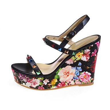 Mujer Zapatos Cuero de Napa Verano Confort Sandalias Tacón Cuña Puntera abierta Purpurina / Hebilla Blanco / Amarillo / Rosa RbdSOm2DP