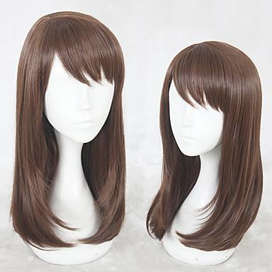 Syntetiske parykker Rett Lagvis frisyre Parykk Lang Beige Syntetisk hår Dame Naturlig hårlinje Lysebrun