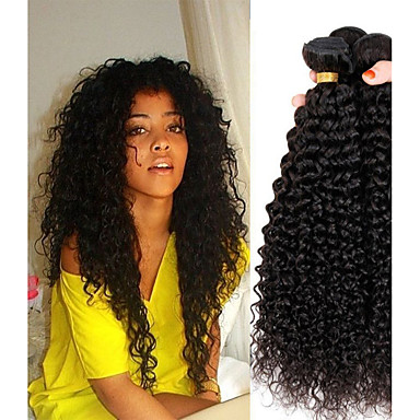 cheap Hair Extensions-4 Bundles Peruvian Hair Kinky Curly Remy Human Hair 100% Remy Hair Weave Bundles 400 g Natural Color Hair Weaves / Hair Bulk Human Hair Extensions 8-28 inch Natural Color Natural Black Human Hair