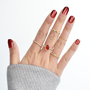 billige Motering-Dame Ring Set Midiringe Stable Ringer Syntetisk turmalin 8pcs Gull Legering Sirkelformet damer Grunnleggende Mote Daglig Stevnemøte Smykker MOON Stjerne