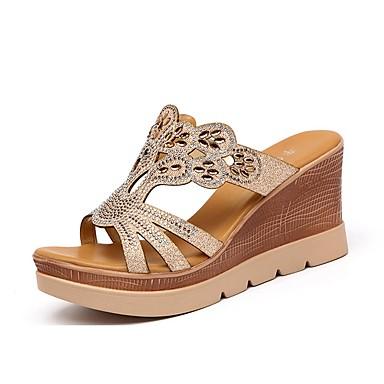 Mujer Zapatos Materiales Personalizados Verano Talón Descubierto Zapatillas y flip-flops Tacón Cuña Puntera abierta Pedrería Dorado / Vraiment Sortie 5Alp3N9r6Z